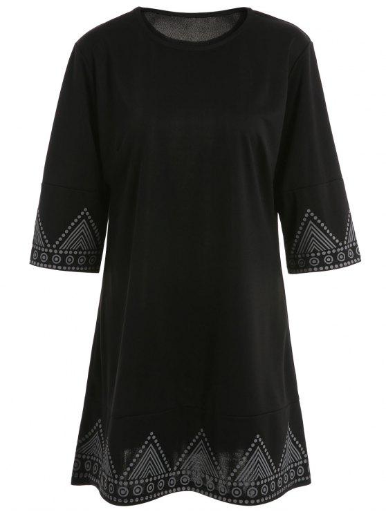 Print Round Neck Mini Dress - BLACK M Mobile