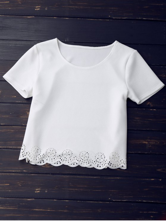 Sheer Scalloped Top and A-Line Skirt - WHITE M Mobile