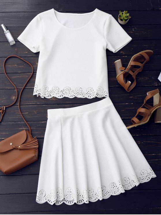 hot Sheer Scalloped Top and A-Line Skirt - WHITE S