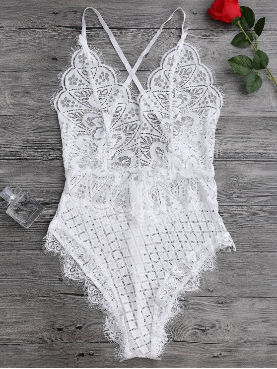 Scaolloped Sheer Eyelash Lace Teddy Bodysuit - WHITE S Mobile