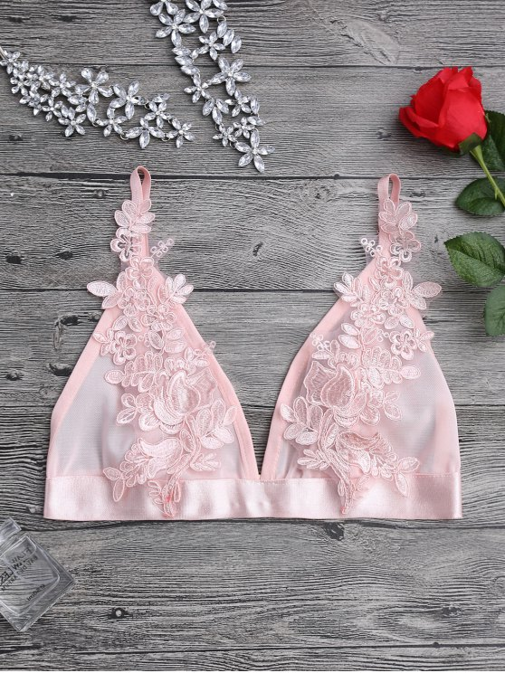 online Applique Sheer Mesh Plunge Bralette Top - PINK XL