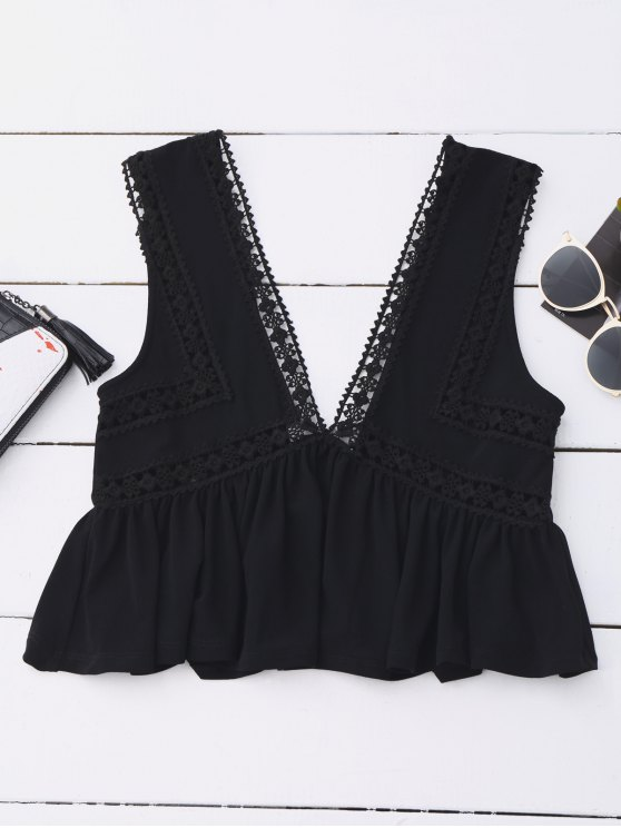 Ruffles Lace Trim Cropped Tank Top - BLACK M Mobile