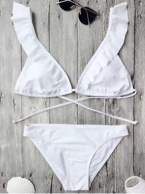 Ruffles Back juego de bikini acolchado atado - Blanco L