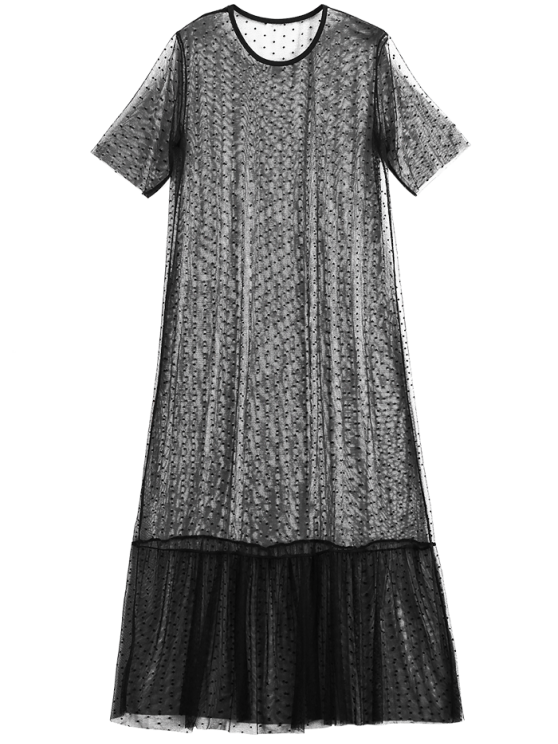 sale Sheer Mesh Midi Beach Cover Up Dress - BLACK XL