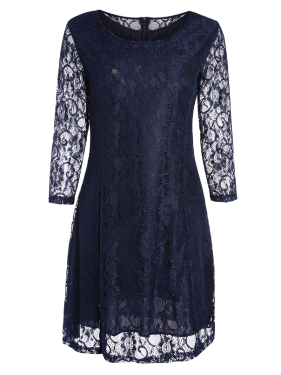 Short Lace Dress With Sleeves - PURPLISH BLUE M Mobile