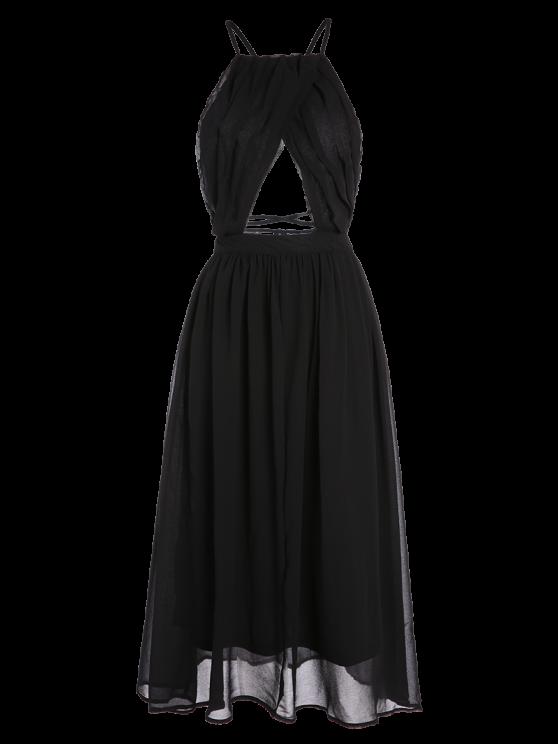 Lace-Up Backless Chiffon Party Dress - BLACK L Mobile