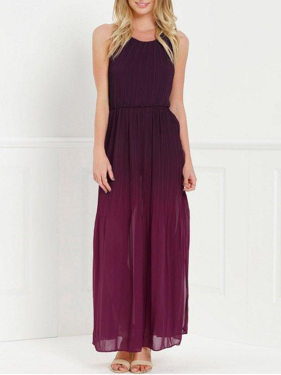 Halter Ombre color del vestido maxi rajó - Rojo S