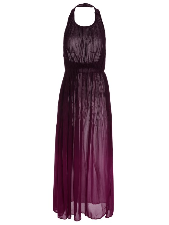Halter Ombre Color High Slit Maxi Dress - RED S Mobile