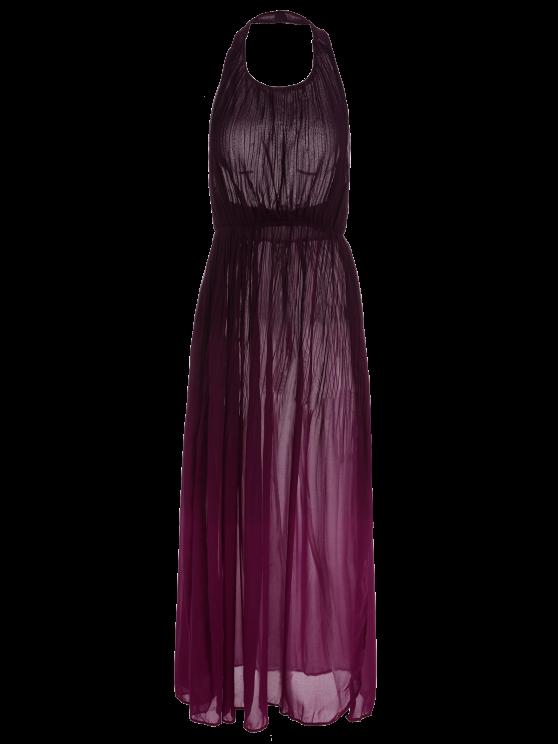 Halter Ombre Color High Slit Maxi Dress - RED L Mobile