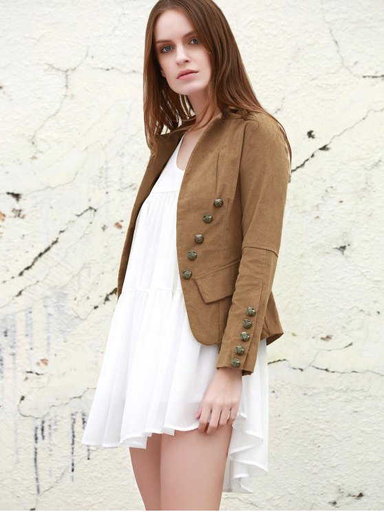 Lapel Structured Washed Blazer - LIGHT COFFEE S Mobile