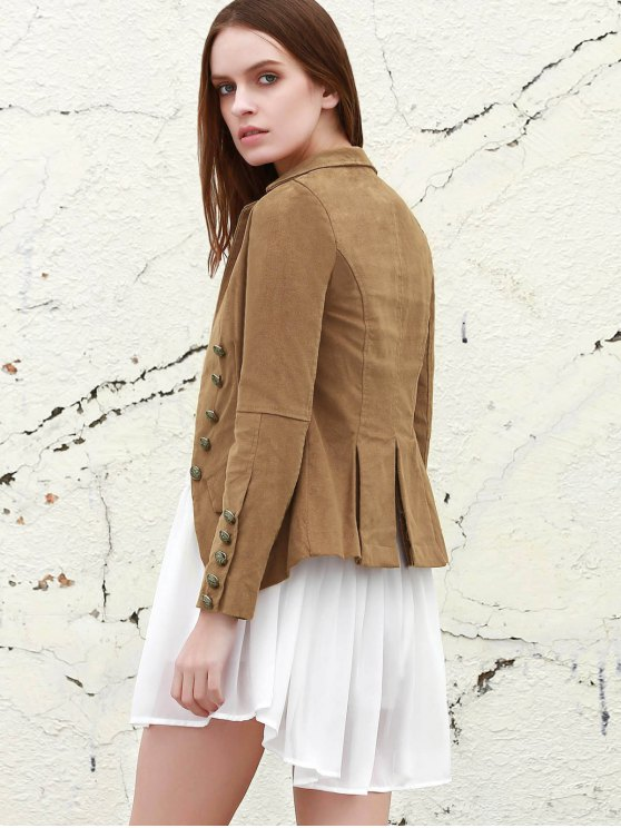 lady Lapel Structured Washed Blazer - LIGHT COFFEE L