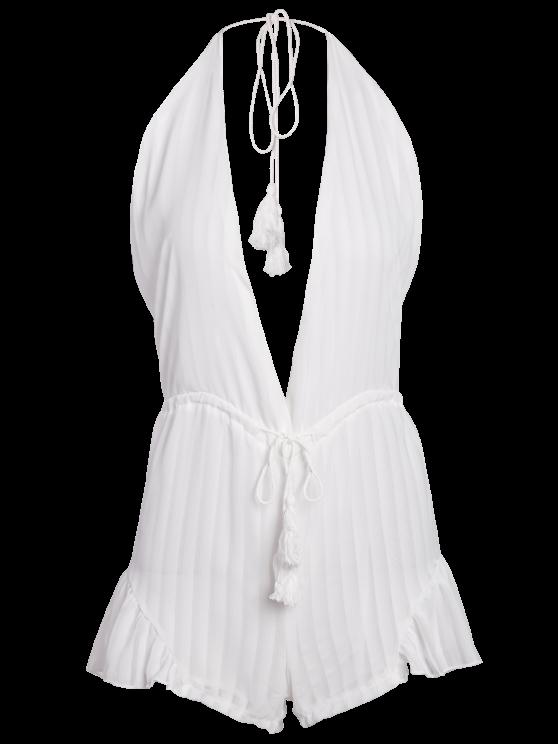White Halter Backless Romper - WHITE XL Mobile