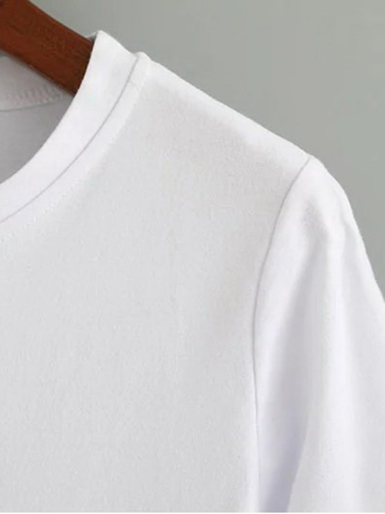 Cute Cotton Embroidered T-Shirt - WHITE M Mobile