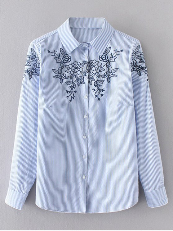 outfit Floral Embroidered Stripes Shirt - BLUE S