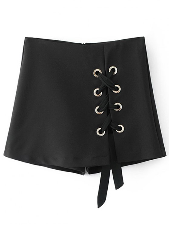 affordable Culotte Lace Up Shorts - BLACK M