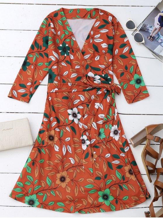 Vestido de hilado de impresión de flores de hojas - rojo, naranja, L