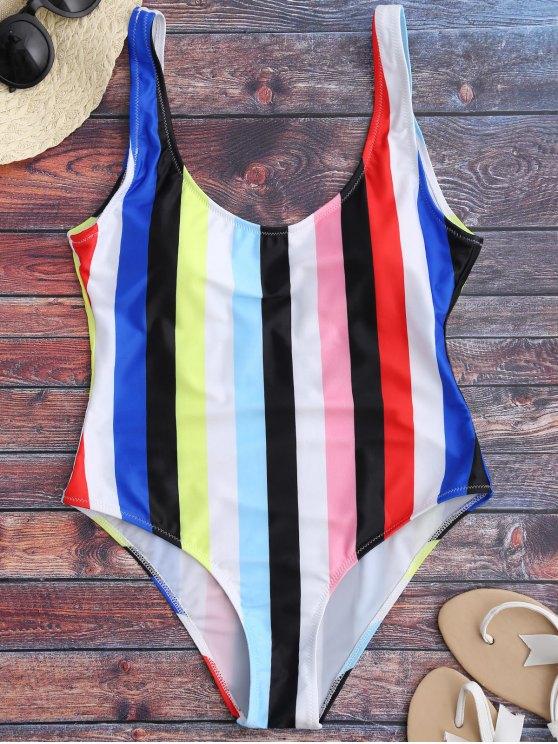 fashion Rainbow Stripes One Piece Swimsuit - MULTICOLOR S