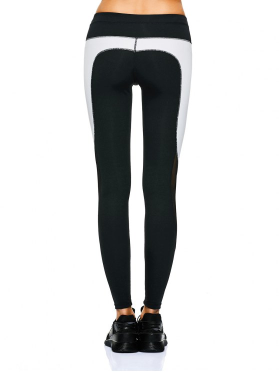 Mesh Panel Color Block Sporty Leggings - WHITE AND BLACK M Mobile