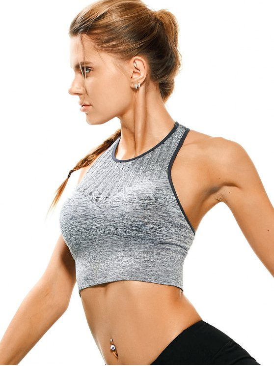 fashion Space Dyed Ladder Cut Racerback Sporty Top - FEATHER GRAY M