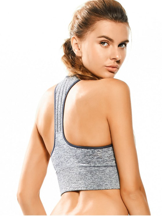 Space Dyed Ladder Cut Racerback Sporty Top - FEATHER GRAY M Mobile