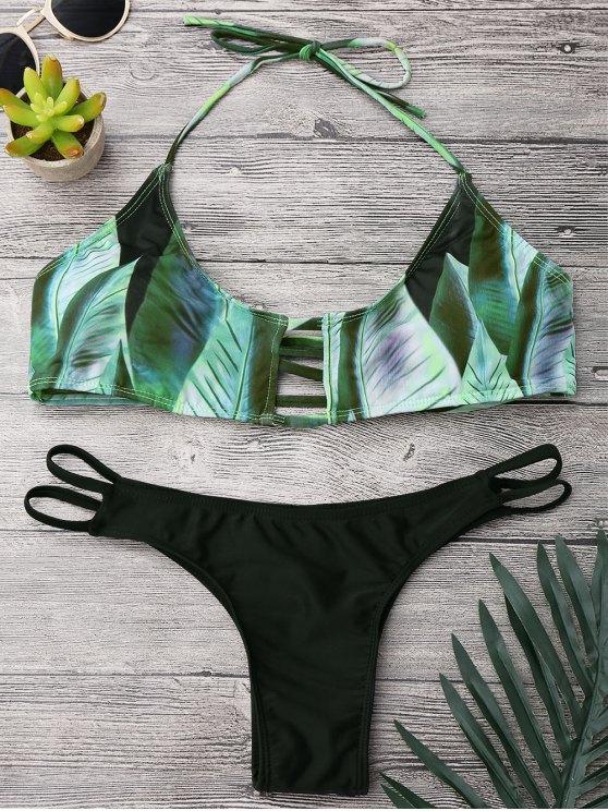 ladies Lattice Tropical Palm Print Bikini Set - BLACK AND GREEN S