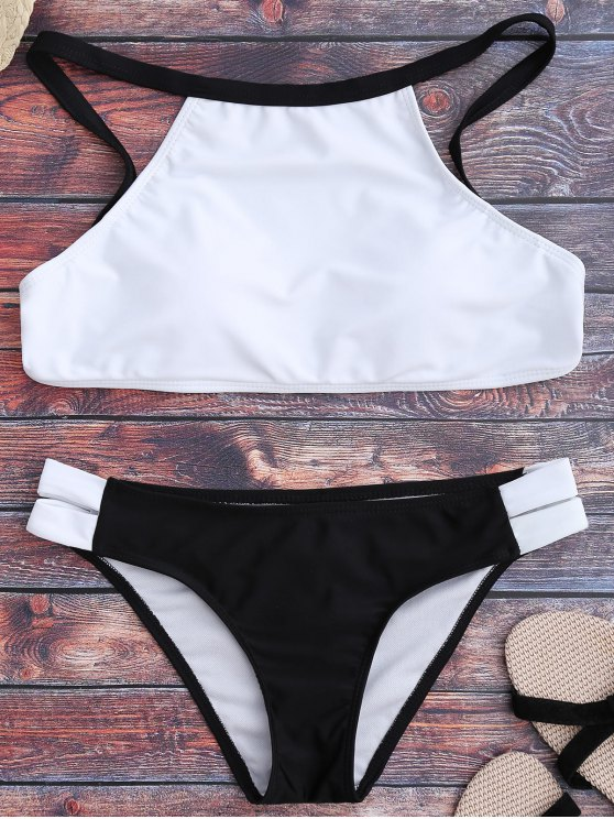 chic Two Tone High Neck Bikini Set - WHITE AND BLACK L