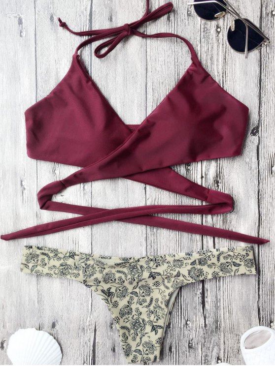 affordable Tiny Floral Wrap Bathing Suit - BURGUNDY M