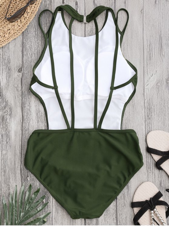 Padded Back Strappy Swimwear - ARMY GREEN M Mobile