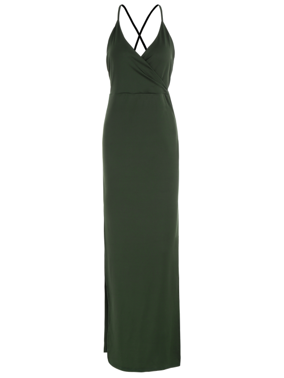 Backless High Split Surplice Maxi Club Dress - ARMY GREEN S Mobile