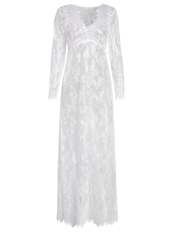 See-Through Lace Dress With Sleeves - WHITE L Mobile