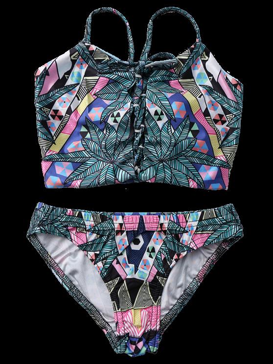 Reversible Colorful Printed Back Criss-Cross Bikini Suit - DEEP GREEN L Mobile