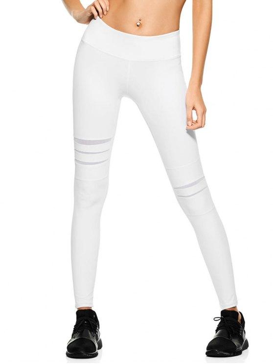 fashion Mesh Panel Stretchy Yoga Leggings - WHITE XL