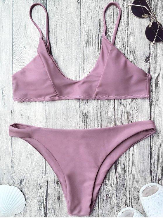 Traje de Bikini de Tirante Fino con Relleno - púrpura rosácea L