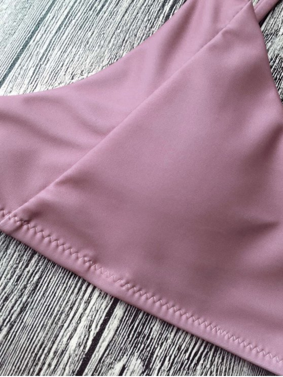 Padded Spaghetti Straps Bikini Set - PINKISH PURPLE M Mobile