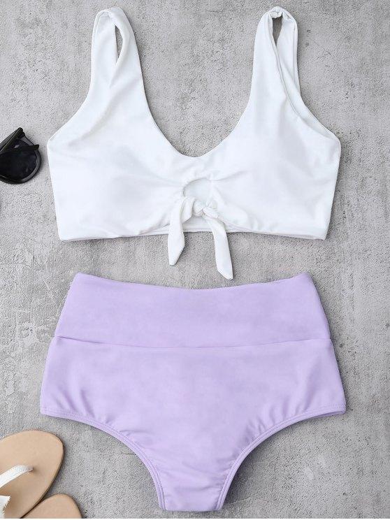 Traje de Bikini Fruncido Anudado con Cintura Alta - Púrpura S