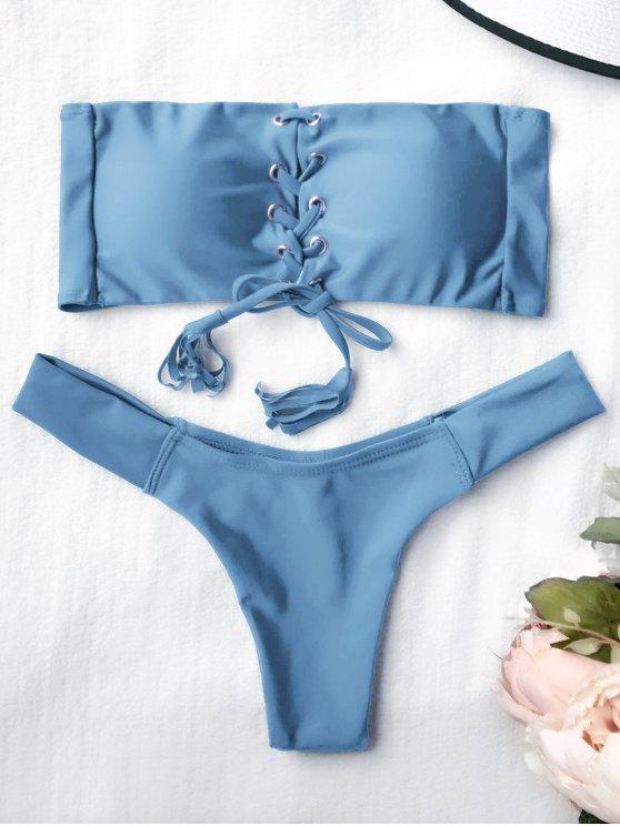 Juego de bikini de encaje con banderas - Azul M