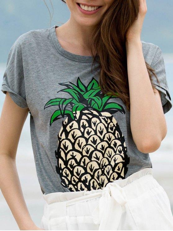 new Fruit Print Round Neck Short Sleeve T-Shirt - GRAY L