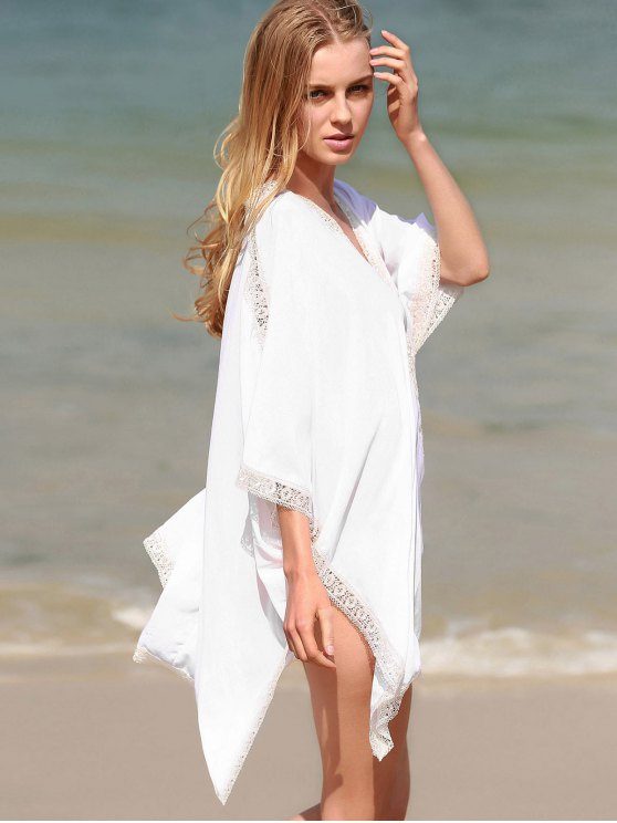 Solid Color Lace Border V Neck Bat-Wing Sleeve Dress - WHITE ONE SIZE(FIT SIZE XS TO M) Mobile