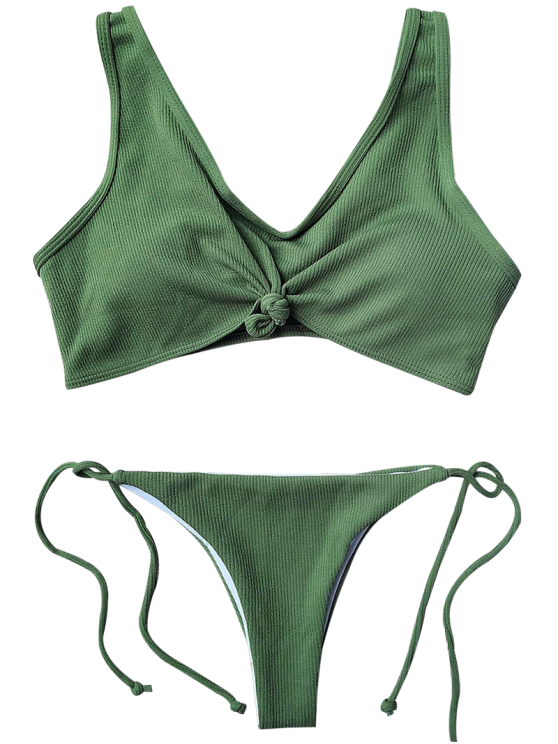 Ribbed Knotted String Bralette Bikini - ARMY GREEN L Mobile