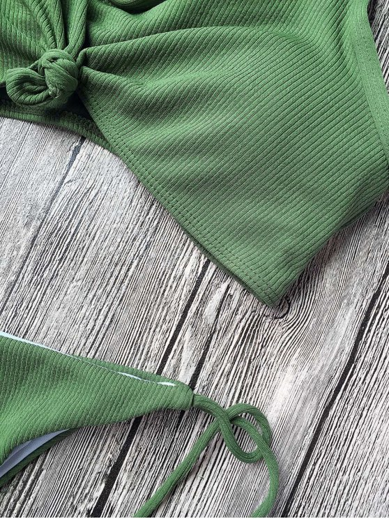 Ribbed Knotted String Bralette Bikini - ARMY GREEN M Mobile