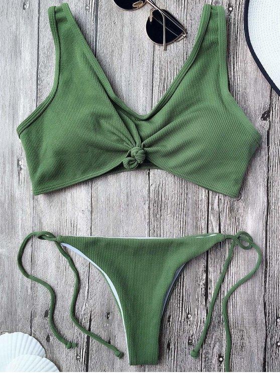 Bikini Bralette con cordones con nudos - Verde del ejército S