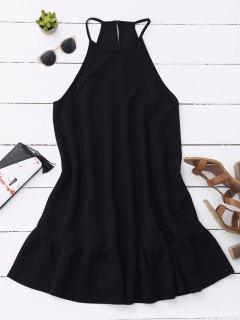 Ruffles High Neck Casual Dress - Black S