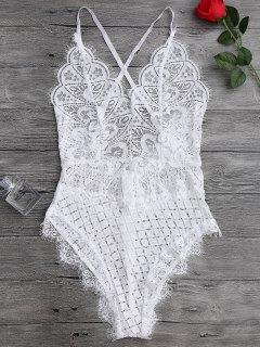 Scaolloped Sheer Eyelash Lace Teddy Bodysuit - White M