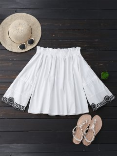 Off Shoulder Flare Sleeve Embroidered Top - White L