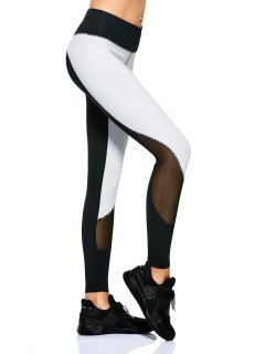 Mesh Panel Color Block Sporty Leggings - White And Black M