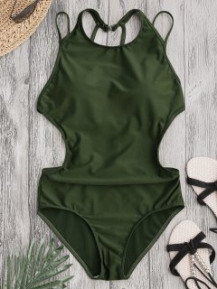 Padded Back Strappy Swimwear - Army Green M