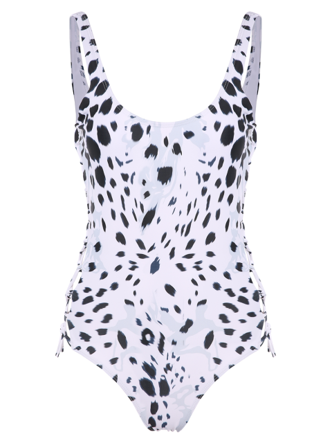 women Irregular Spot Side Lace Up Swimsuit - WHITE XL Mobile
