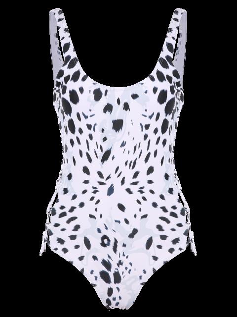 women's Irregular Spot Side Lace Up Swimsuit - WHITE L Mobile