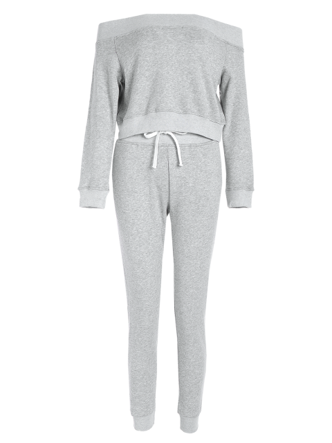womens Sweatshirt With Pants Gym Outfits - LIGHT GRAY S Mobile