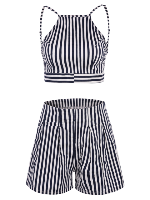 womens Backless Crop Top with Striped Shorts - BLUE M Mobile